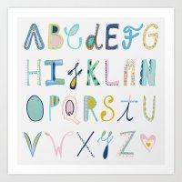 alphabet Art Prints featuring Alphabet by Antonela Del Vecchio