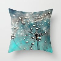 Ocean Blue  and White Dandy Drops Throw Pillow