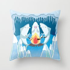 A Shiver of Sharks Throw Pillow