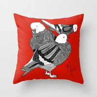 Red Pigeons Get Fat Throw Pillow
