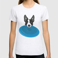 Border Collie - Disc Dog 2 Womens Fitted Tee Ash Grey SMALL