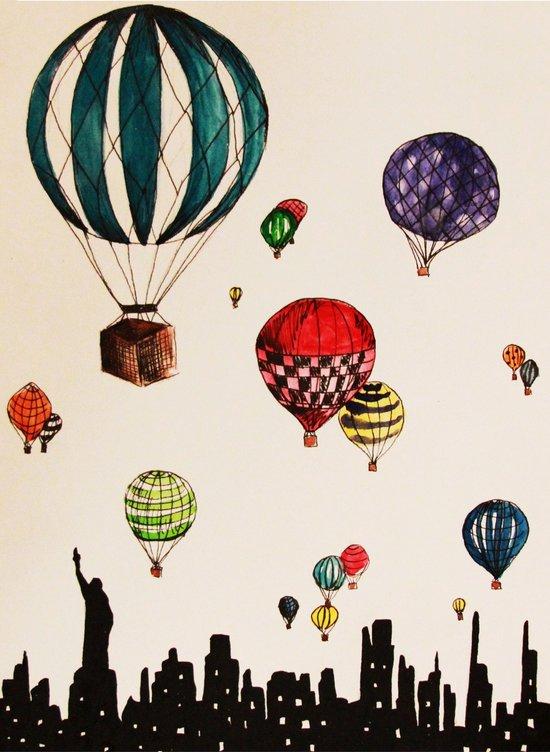 Balloon Ride Over NYC Art Print