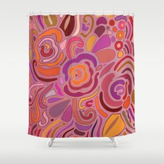 Rose fragments, pink, purple and orange Shower Curtain