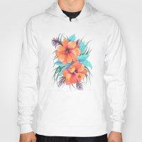 TROPICAL FLOWER {orange … Hoody