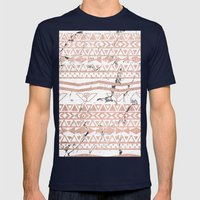 Modern rose gold blush aztec on white marble Mens Fitted Tee Navy SMALL