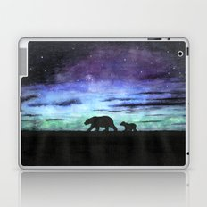 Aurora borealis and polar bears (black version) Laptop & iPad Skin