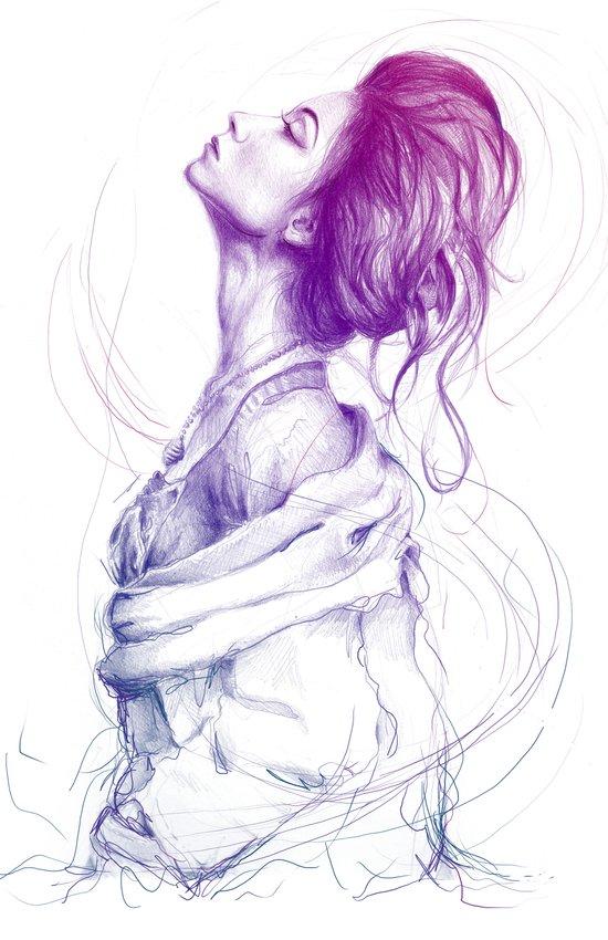Pretty (Purple) Lady Portrait Art Print
