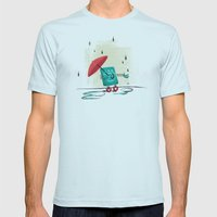 Rain Is Bad For Robots Mens Fitted Tee Light Blue SMALL