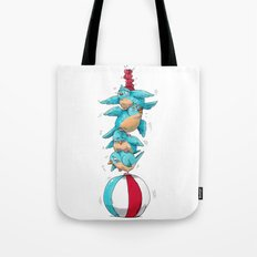 Blue Birds Balancing Boiling Beverages on a Beach Ball Tote Bag