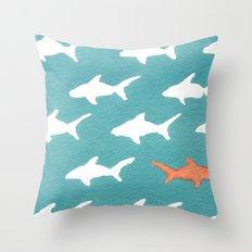 Splashy Sharks Throw Pillow