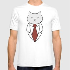 Business Cat Mens Fitted Tee SMALL White