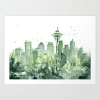 Seattle Watercolor Paint… Art Print