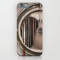 iPhone & iPod Case featuring (Marlboro Red bar-code) silhouette of lungs against ball bearing  by Bryan Cope