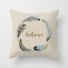 Feather wreath gather  Throw Pillow