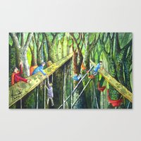 Meeting in the Woods Canvas Print