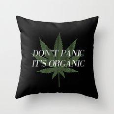 Don't Panic it's Organic Vintage Potleaf Print Throw Pillow