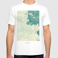 Doha Map Blue Vintage Mens Fitted Tee SMALL White