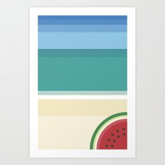 The watermelon on the beach Art Print