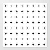 Black Plus On White /// … Canvas Print