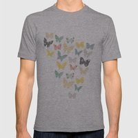 butterflies pattern Mens Fitted Tee Athletic Grey SMALL
