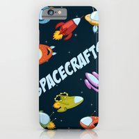 iPhone & iPod Case featuring Spacecraft and rockets flying the stars by Rosa Puchalt