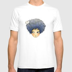 the girl with lamb hair White SMALL Mens Fitted Tee