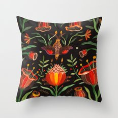 Singing Flowers - Night Throw Pillow