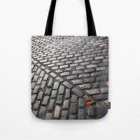 Leaves On Cobblestones Tote Bag
