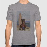 Surfer Bear Mens Fitted Tee Athletic Grey SMALL