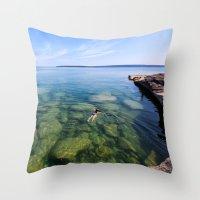 Serenity Swim in Lake Superior Throw Pillow