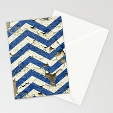 Peeling Chevrons Blue Stationery Cards