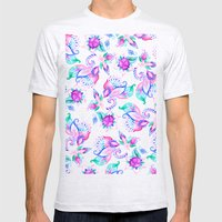 Modern Pink Turquoise Ha… Mens Fitted Tee Ash Grey SMALL