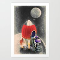 Rocketship Goes By Art Print
