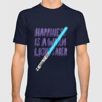 Happiness is a warm Lightsaber Mens Fitted Tee Navy SMALL