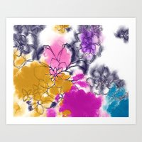 Abstract Flowers - Water… Art Print