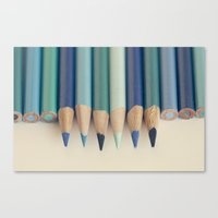Blue Pencils Canvas Print