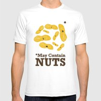 *May Contain Nuts Mens Fitted Tee White SMALL