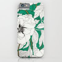 iPhone Cases featuring green peonies by Marcella Wylie
