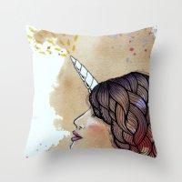unicorn girl Throw Pillow