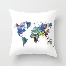 Cosmic world map Throw Pillow