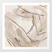 Watercolor nude Art Print