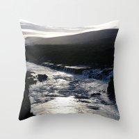 Waterfall at sundown Throw Pillow