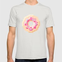 Pixel Donut Mens Fitted Tee Silver SMALL