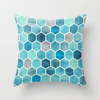 Blue Ink - watercolor hexagon pattern Throw Pillow