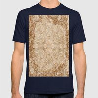 Petrified Wood Kaleidoscope Mens Fitted Tee Navy SMALL