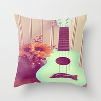 Blue Ukulele Throw Pillow