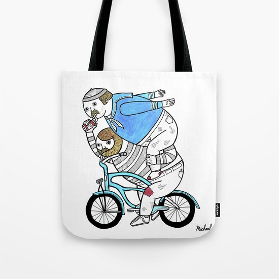 On how bicycle riders utilize team work in certain situations. Tote Bag