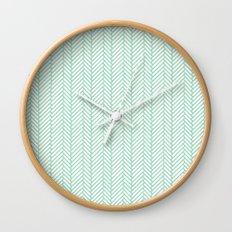 Herringbone Mint Wall Clock