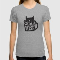 coffee is my safe place Womens Fitted Tee Athletic Grey SMALL