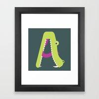 Letter A // Animal Alphabet // Alligator Framed Art Print